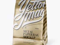 Matte Metallic Paper Snack Bag Mockup - Half Side View