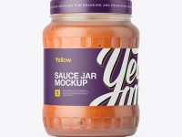 700ml Clear Glass Sauce Jar Mockup