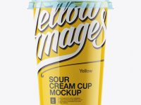 Glossy Sour Cream Cup with Transparent Cap Mockup