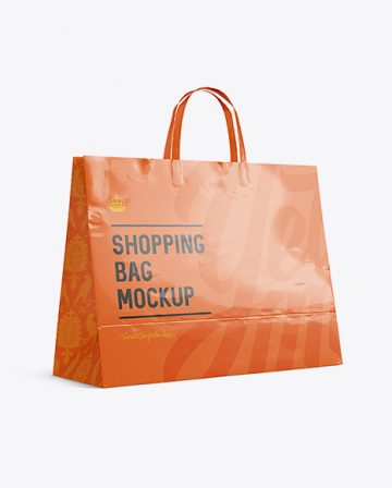 Glossy Paper Shopping Bag Mockup - Halfside View (Eye-Level Shot)
