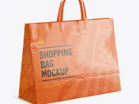 Glossy Paper Shopping Bag Mockup - Halfside View