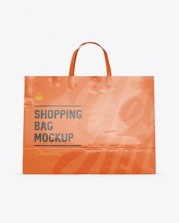 Glossy Paper Shopping Bag Mockup - Front View