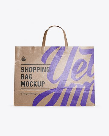 Glossy Kraft Paper Shopping Bag Mockup - Front View