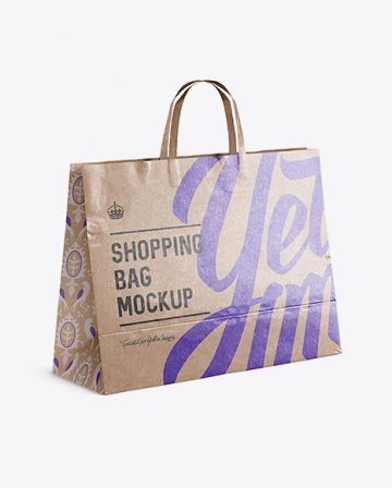 Glossy Kraft Paper Shopping Bag Mockup - Halfside View
