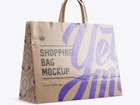 Glossy Kraft Paper Shopping Bag Mockup - Halfside View (Eye-Level Shot)