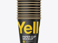 Ten Paper Cups Mockup - Front View