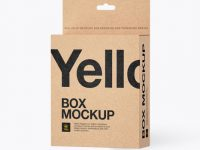 Kraft Paper Box with Hang Tab Mockup - Halfside View