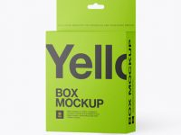 Textured Paper Box with Hang Tab Mockup - Half Side View