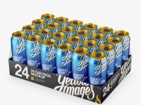 Transparent Pack with 24 Alminium Cans Mockup - Half Side View (High-Angle Shot)