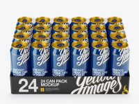 Transparent Pack with 24 Glossy Aluminium Cans Mockup - Front View (High-Angle Shot)