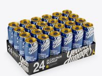 Transparent Pack with 24 Glossy Alminium Cans Mockup - Half Side View (High-Angle Shot)