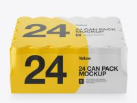 Pack with 24 Aluminium Cans Mockup