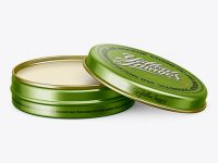 Metal Round Lip Balm Tin Mockup - Front View