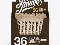 36x Sachets Open Box Mockup - Front View (High Angle Shot)