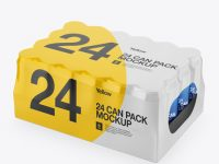 Pack with 24 Aluminium Cans Mockup - Halfside View (High-Angle Shot)