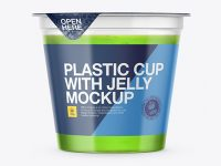 Clear Plastic Cup with Jelly Mockup - Front View