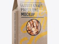 Glossy Kraft Paper Box W/ Window Mockup - Halfside View
