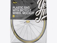 Plastic Bag With Bicycle Wheel Mockup - Half Side View