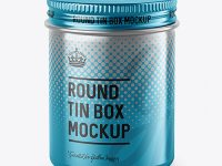 100ml Metallic Round Tin Box Mockup - High-Angle Shot