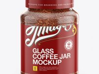 200g Instant Coffee Glass Jar Mockup - Front View (High Angle)