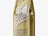 Metallic Coffee Bag With Valve Mockup - Half Side View