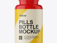 Glossy Plastic Pills Bottle Mockup