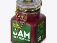 100ml Glass Cranberry Jam Jar w/ Clamp Lid Mockup - Half Side View (High-Angle Shot)