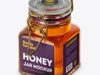 100ml Glass Pure Honey Jar w/ Clamp Lid Mockup - Half Side View (High-Angle Shot)