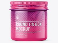 50ml Round Tin Box with Glossy Finish Mockup - Front View