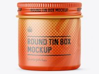 50ml Round Tin Box with Matte Finish Mockup - Front View