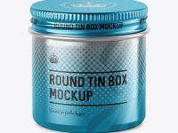 50ml Metallic Round Tin Box Mockup - High-Angle Shot