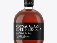 Clear Glass Bottle With Cognac Mockup