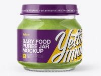 Baby Food Broccoli Puree Jar Mockup