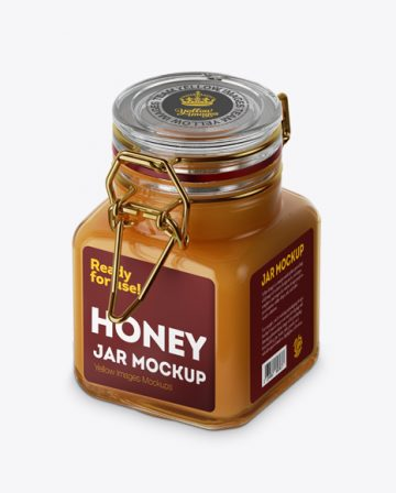 100ml Glass Raw Honey Jar w/ Clamp Lid Mockup - Halfside View (High-Angle Shot)
