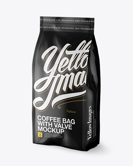 Download Matte Coffee Bag With Valve Mockup Halfside View Exclusive Mockups PSD Mockup Templates