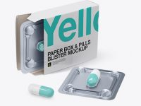Open Pills Box With Transparent Blister Mockup - Half Side View