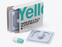 Open Pills Box With Glossy Blister Mockup - Half Side View
