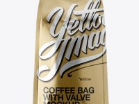 Metallic Coffee Bag With Valve Mockup - Hero Shot