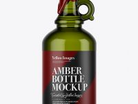 Green Glass Bottle With Handle & Wax Top Mockup
