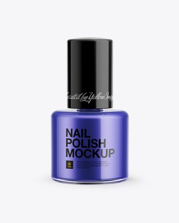 Nail Polish Bottle with Glossy Cap Mockup - Front View
