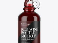 Red Wine Glass Bottle With Handle & Wax Top Mockup