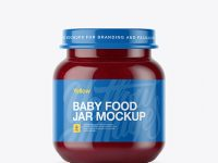 Baby Food Plum Puree Small Jar Mockup - Front View