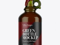Green Glass Whiskey Bottle With Handle & Wax Top Mockup