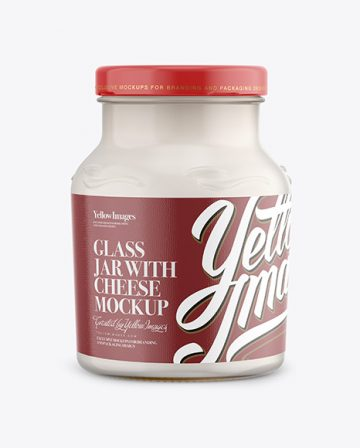 Glass Jar 900g with Cheese Mockup - Front View