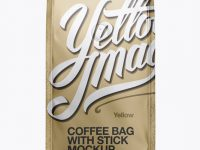 Matte Metallic Coffee Bag With Valve Mockup - Front View