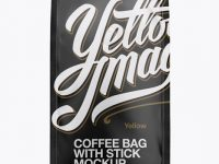 Matte Coffee Bag With Valve Mockup - Front View