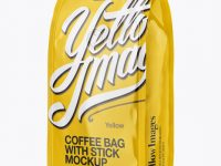 Glossy Coffee Bag With Valve Mockup - Half Side View