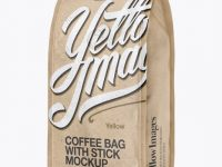 Kraft Paper Coffee Bag With Valve Mockup - Half Side View