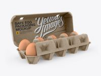 Open Kraft Egg Container - Halfside View (High-Angle Shot)