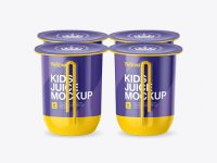 Glossy Plastic 4 Pack Juice Cup Mockup - Side View (High-Angle)